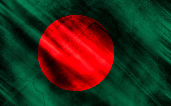 Bangladesh flag on old and ruined fabric