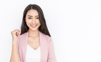 Portrait of smiling confident asian business woman in pink suit office. Asian business girl. Startup successful power business leader executive people looking camera with copy space isolated on white Fotomurales
