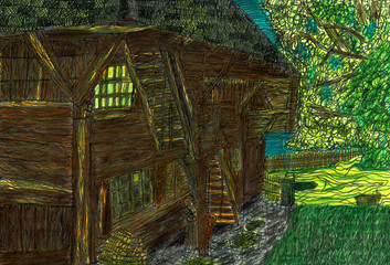 Old Barn in the Green, Hand Drawn Illustration