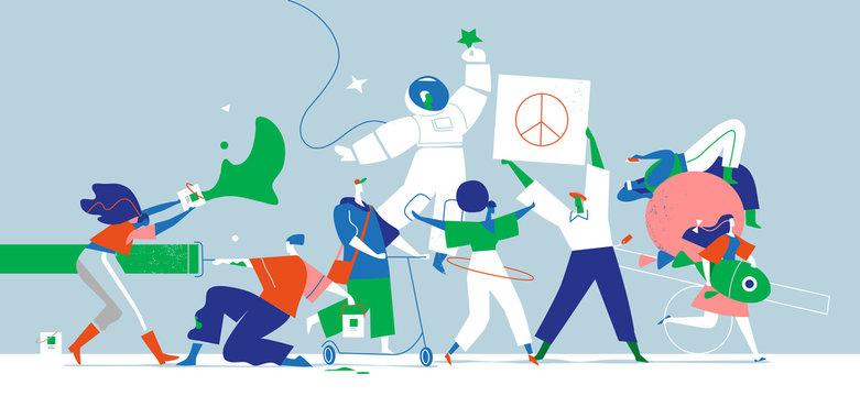 Giovani ragazzi creativi, artisti esprimono la loro personalità