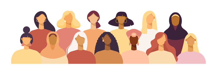 Group of women of different nationalities and cultures, skin colors and hairstyles. Society or population, social diversity. Cartoon characters. Vector illustration in flat design, isolated on white