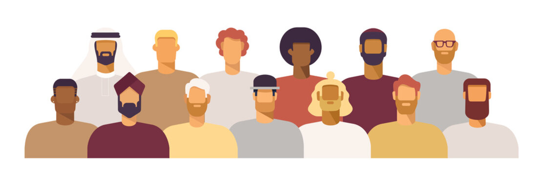 Group of men of different nationalities and cultures, skin colors and hairstyles. Society or population, social diversity. Cartoon characters. Vector illustration in flat design, isolated on white
