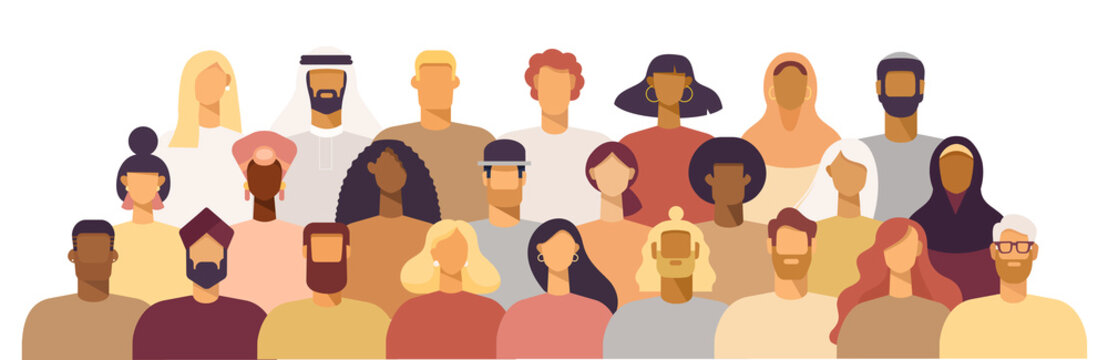 Group of people of different nationalities and cultures, skin colors and hairstyles. Society or population, social diversity. Cartoon characters. Vector illustration in flat design, isolated on white