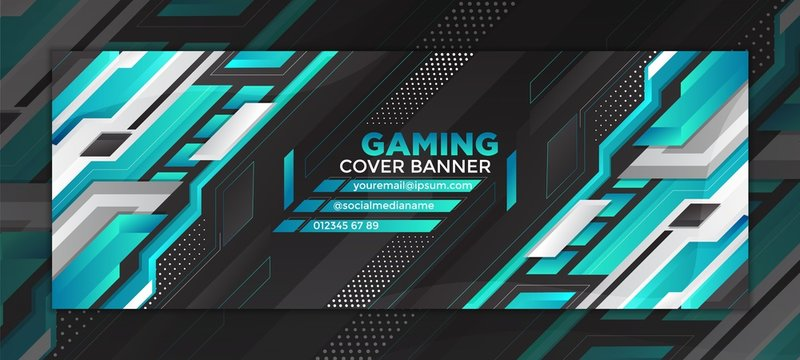 gaming cover banner with futuristic blue design for web - social media and other