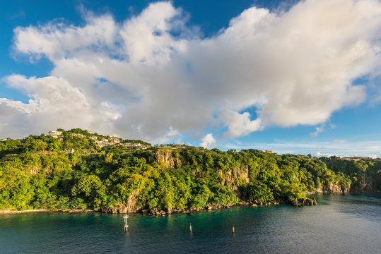 Landscape of the tropical caribbean island of Saint Vincent, Kingstown, Saint-Vincent and the Grenadines
