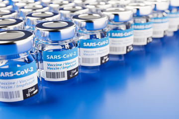 Concept for availability of enough vaccine against new corona virus SARS-CoV-2: Rows of glass...