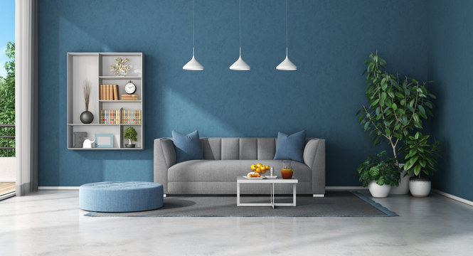 Blue living room with sofa and bookcase