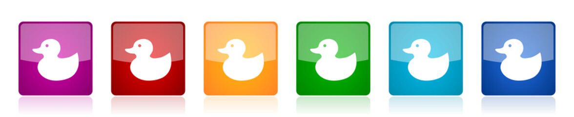 Duck toy, bird icon set, colorful square glossy vector illustrations in 6 options for web design and mobile applications