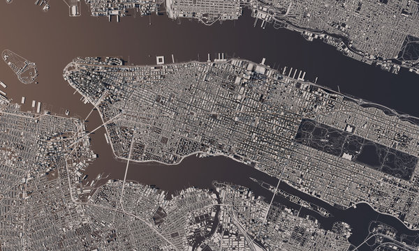 New York city map 3D Rendering. Aerial satellite view.