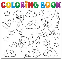 Fotorolgordijn Voor kinderen Coloring book happy birds theme 2