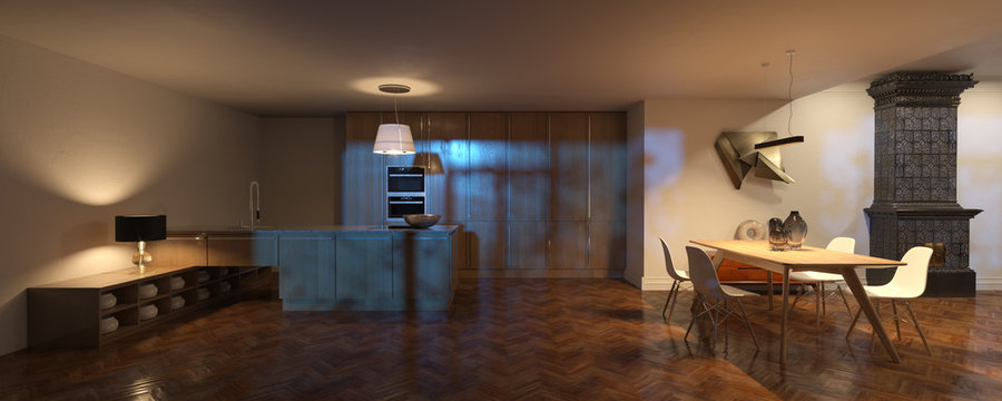 Scandinavian interior with wood kitchen and dining room and vintage fireplace night time 3d render