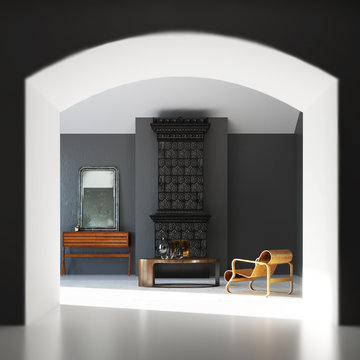 New White Living Room with Arc and vintage fireplace and plywood armchair 3d render