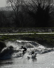 Surfers and canoeists ride a Severn Bore surge wave near Newnham