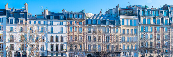 Photo sur Toile Con. Antique Paris, ile de la Cite and quai des Orfevres, beautiful ancient buildings, panorama
