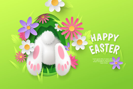 Vector cute festive horizontal banner with layered cut out paper egg, realistic 3D fur butt of bunny and flowers on green background. Cartoon holiday template with text Happy Easter for greeting card.