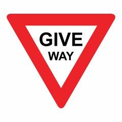 Fototapeta The Give way traffic sign isolated on white background obraz