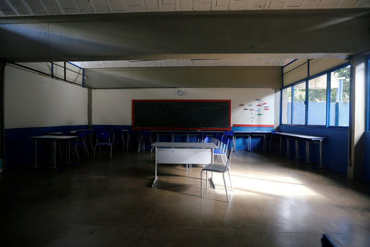 A general view of a classroom at a public school, as it is closed for five days after reports of the coronavirus in Brasilia