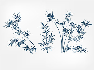 bamboo japanese paint style design sketch design element vector