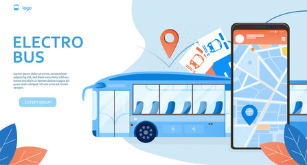 Public transportation app concept poster for eco bus. Electric transport vehicles on blue energy in modern city environment on light background with leaves