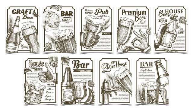 Beer Pub Collection Advertising Posters Set Vector. Wooden Barrel And Glass Cups, Bottles And Bar Faucet, Hops And Wheat On Different Commercial Promotional Banners Tavern. Advertisement Illustrations