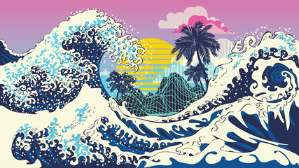 Retro great waves design with palms