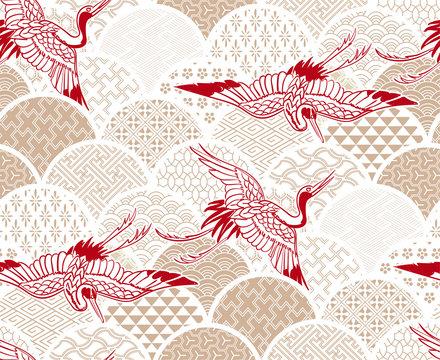 crane bird traditional kimono pattern vector sketch illustration line art japanese chinese oriental design