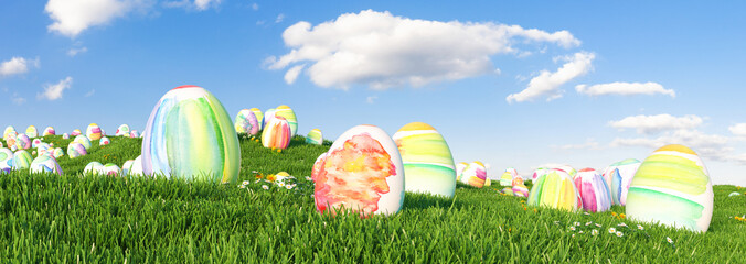 Many colorful watercolor Easter eggs to be searched and hunted on a meadow for Easter