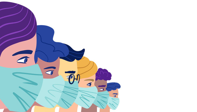 A group of people wearing a protective medical mask to prevent coronavirus. Vector concept of coronavirus quarantine.