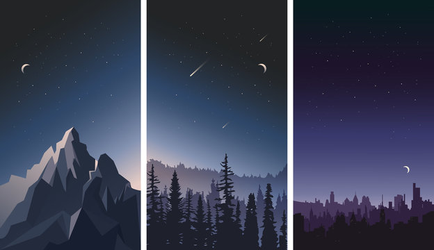 Vector set of night sky landscapes. City, mountains and forest on a background of stars.