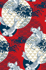 koi fish wave water circles japanese chinese vector design pattern