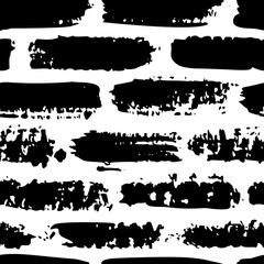 Grunge brush stroke seamless pattern. Abstract texture hand drawn with a ink. Vector Monochrome Scandinavian background