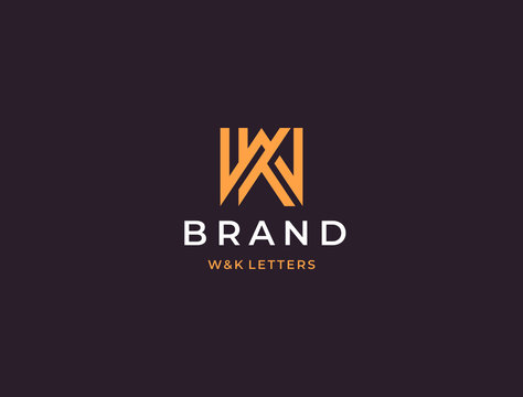 WK or KW. Monogram of Two letters K&W or W&K. Luxury, simple, minimal and elegant WK, KW logo design. Vector illustration template.