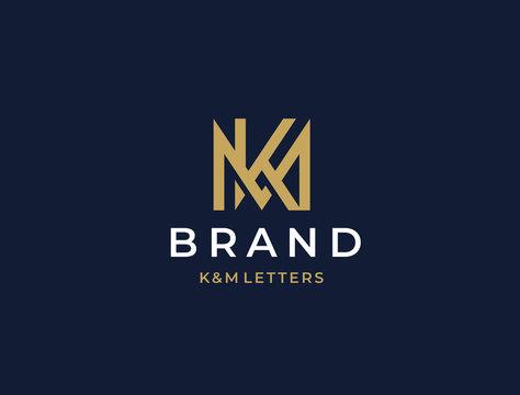 MK or KM. Monogram of Two letters K&W or M&K. Luxury, simple, minimal and elegant MK, KM logo design. Vector illustration template.