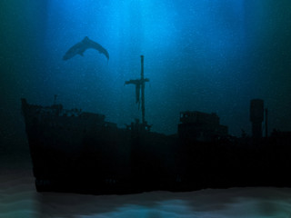 Tuinposter Schipbreuk Ship wreck on sea or ocean bottom. Sunk vessel underwater scenery. Silhouette of old abandoned shipwreck and shark above it. Mysterious marine landscape