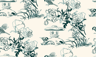 poppy flower toro bird nature landscape view vector sketch illustration japanese chinese oriental line art ink seamless pattern