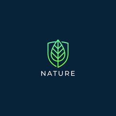 Leaf and shield logo design. Abstract emblem, design concept, logotype element for template. Ecology and environment icon.