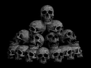 Awesome, Pile Of Skull , On Black Background