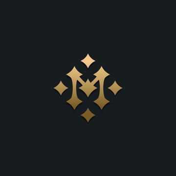 Letter M stars logo icon design template. Business symbol or sign. Luxury logotype. Vector illustration