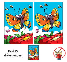 Happy butterfly flying. Find 10 differences. Educational game for children. Cartoon vector illustration