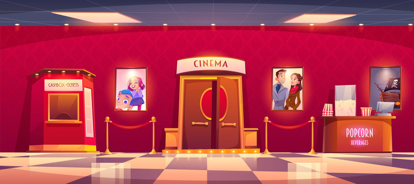 Cinema with cashbox and counter with popcorn. Vector cartoon illustration of luxury movie theater interior with tickets and snack shop, film posters and red rope fence