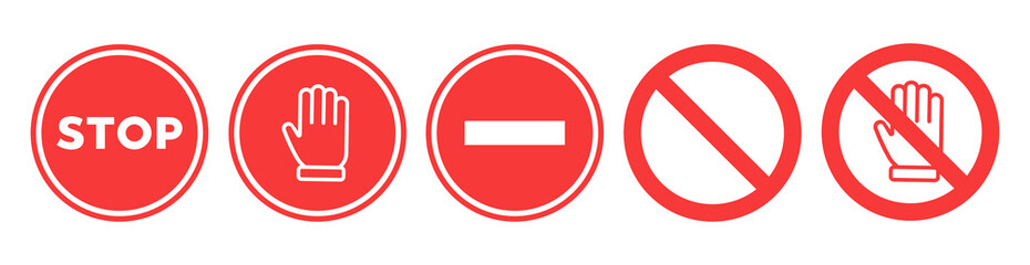 Stop set vector sign with hand Wall mural