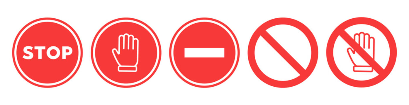 Stop set vector sign with hand
