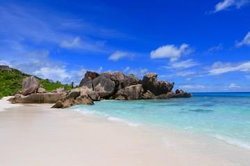 Fotorollo Dunkelblau anse Coco, La Digue, Seychelles