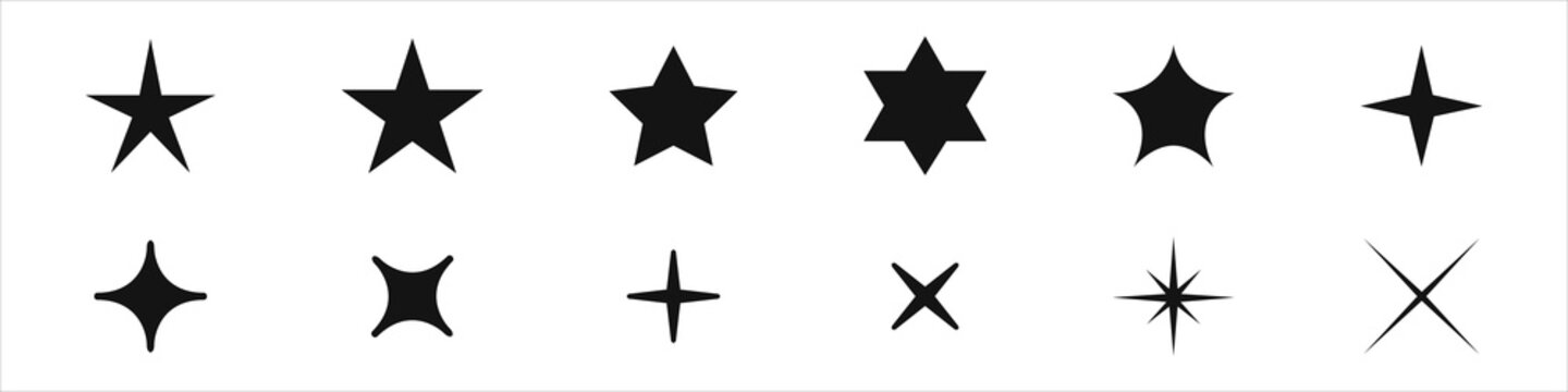 Star icons set. A collection of night luminaries. Logos of stars in different styles. Vector illustration