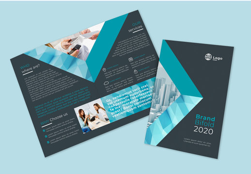 Teal Bifold Brochure Layout with Geometric Overlay Elements