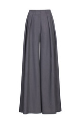 Grey women's wide classic trousers made of wool fabric isolated on white background