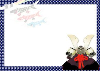 5月の端午の節句の兜とこいのぼりのイラスト横スタイル背景素材