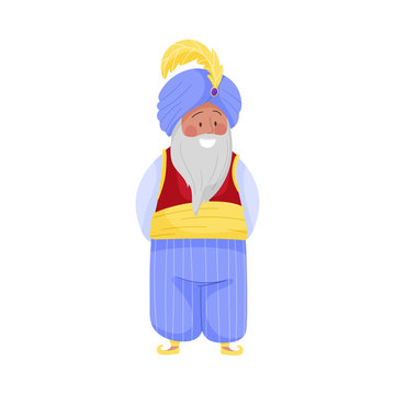 Senior Bearded Sultan Character in Turban with Feather Wearing East Clothing Vector Illustration