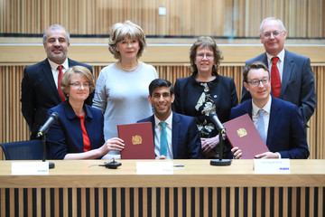 Britain's Chancellor of the Exchequer Rishi Sunak is pictured follwing the signing of the West Yorkshire Combined Authority devolution deal during a visit to the Nexus Building at the University of Leeds, in Leeds