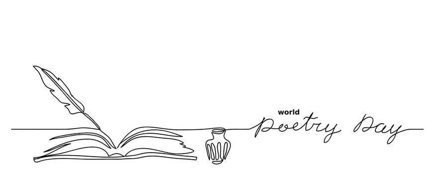 World poetry day minimalist vector sketch, web background with feather, inkwell, and book. Lettering poetry day. One continuous line drawing